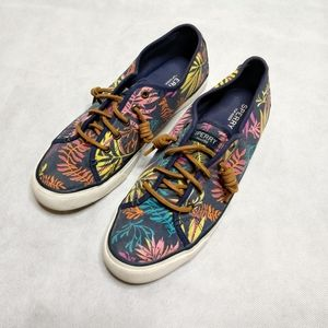 Sperry Seacoast Sneaker Floral Palm Print Size 9